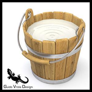 3d wooden bucket milk