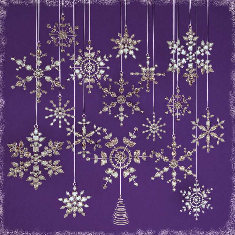 glass snowflakes 3d obj