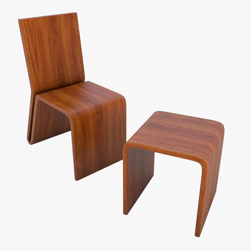 wooden chair stool 02 c4d