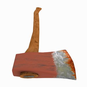 3d wood axe model