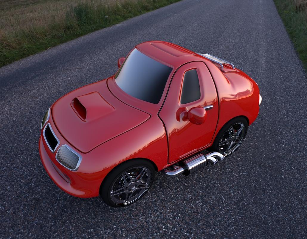 red cartoon car c4d