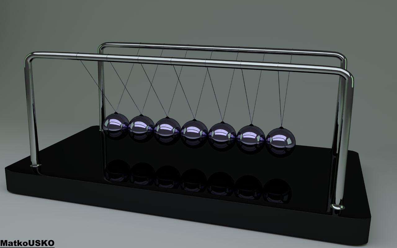 free newton cradle 3d model