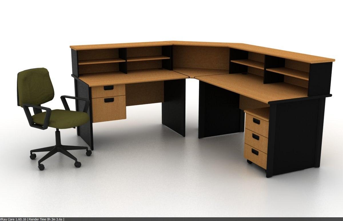 receptionist desk chair office 3d model
