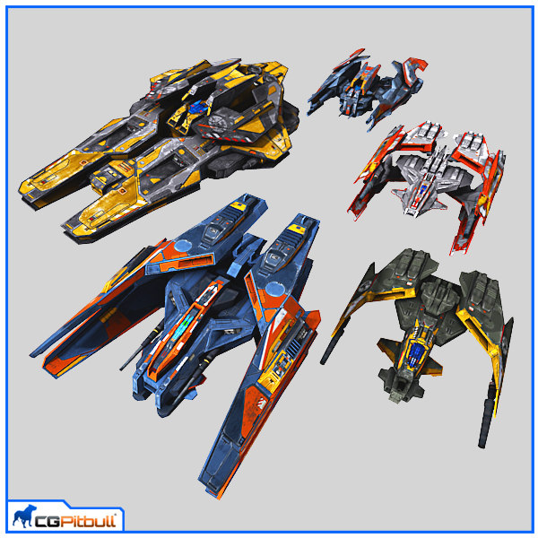 3d scifi fighters model