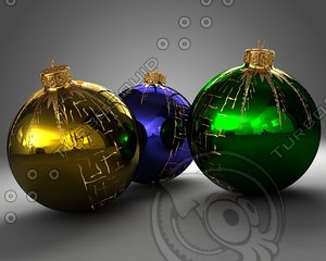 christmas balls ornaments 3d model