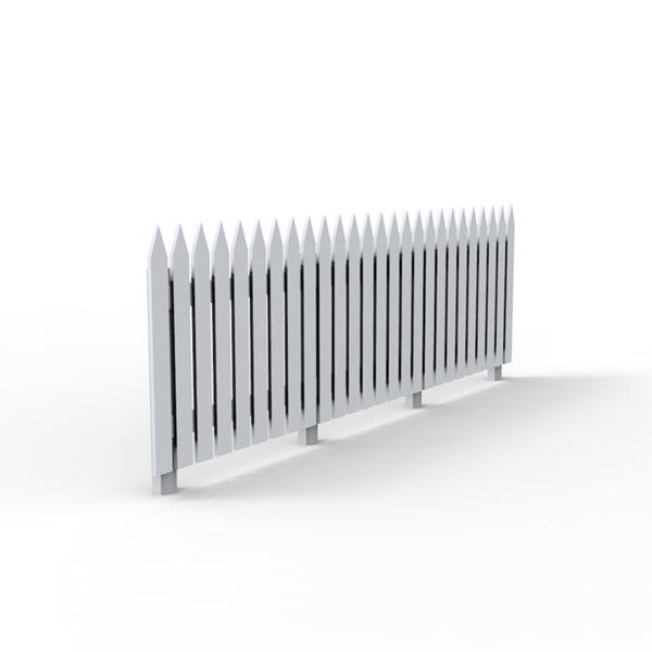 wooden wood fence 3d model