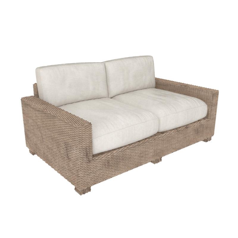 wickerwork rattan sofa 3d max