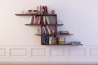 bookshelf 12 Wall Hung Bookshelf with books