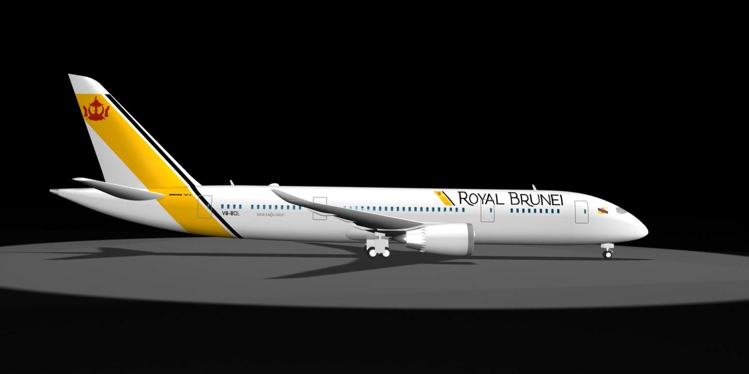 3d model royal brunei 787-8 dream liner