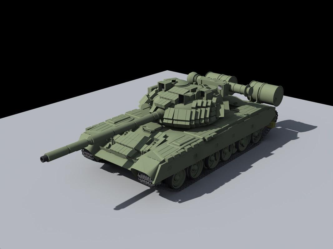 t-80 main battle tank 3d model