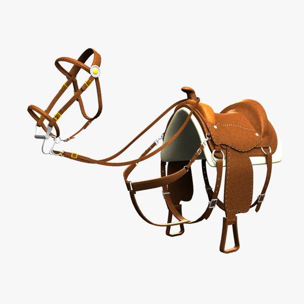 western saddle bridle 3d obj