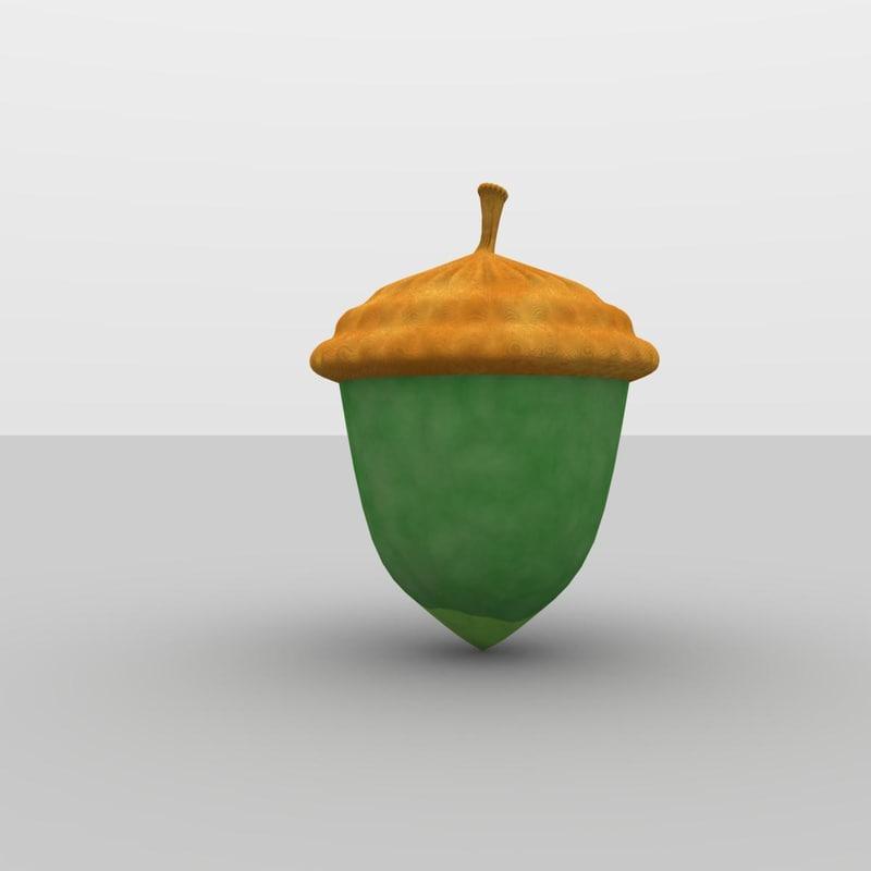 oak acorn 3d model