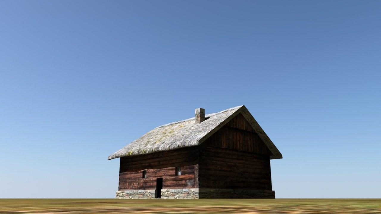 low-poly house hut 3d obj