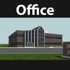story brick office building 3d model