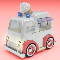 cartoon style ice cream 3d model
