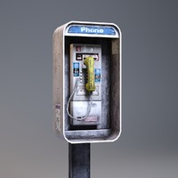 payphone low-poly phone 3d model