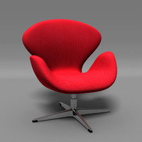 3d model classic swan chair arne jacobsen
