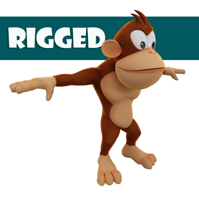 rigged cartoon monkey ma