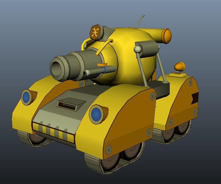 3d cartoon style tank