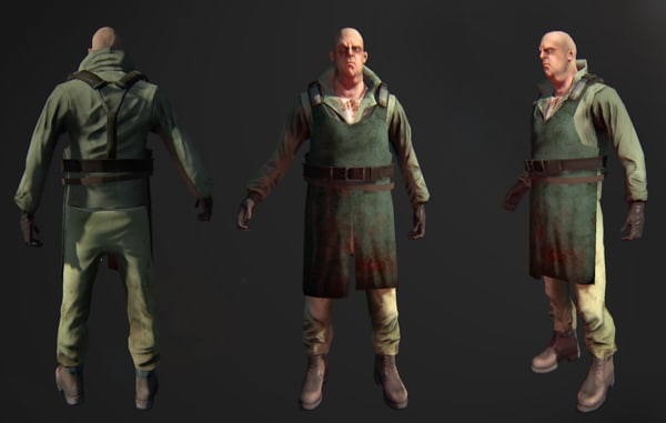 3d character butcher gam model