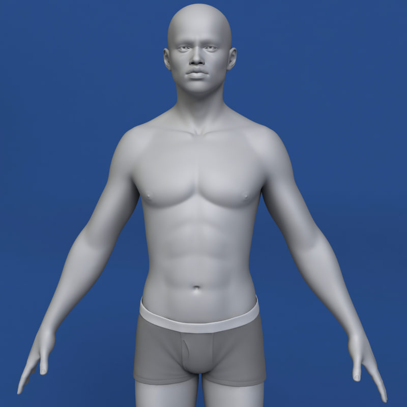 realistic african man body 3d model