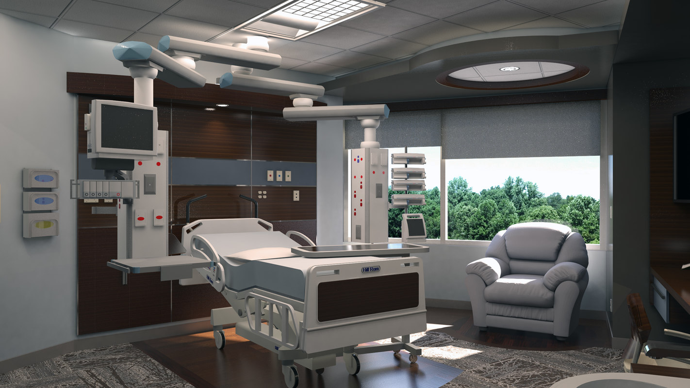 Icu intensive care unit 3d 3ds for Room design 3ds max
