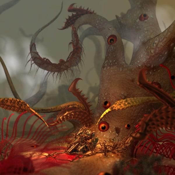 3d model scene alien forest