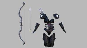 3d fantasy archer armor model