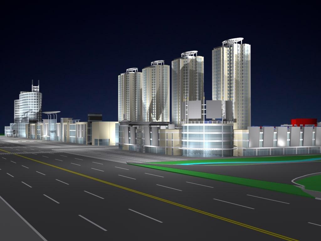 3d commercial area model