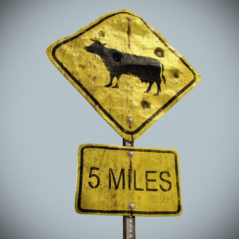 road sign 3d max