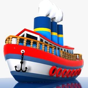 3d cartoon ship toon