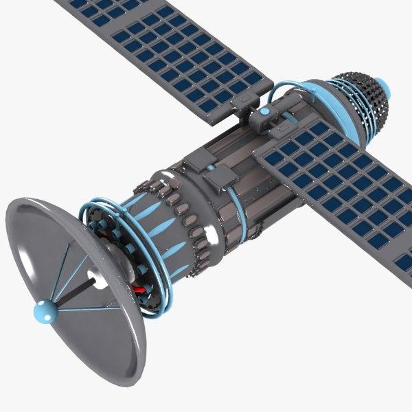 3d model cartoon satellite toon
