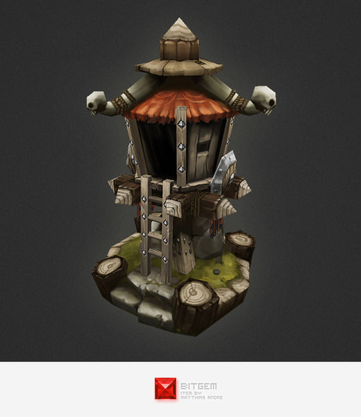 hand painted orc guard tower 3d model