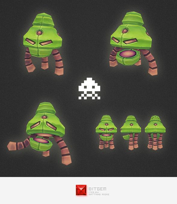 space invader alien 3d model