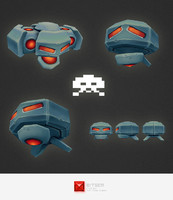 space invader alien 3d model