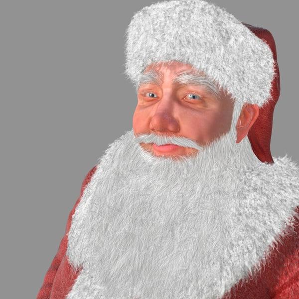 realistical santa claus human rigged 3d model