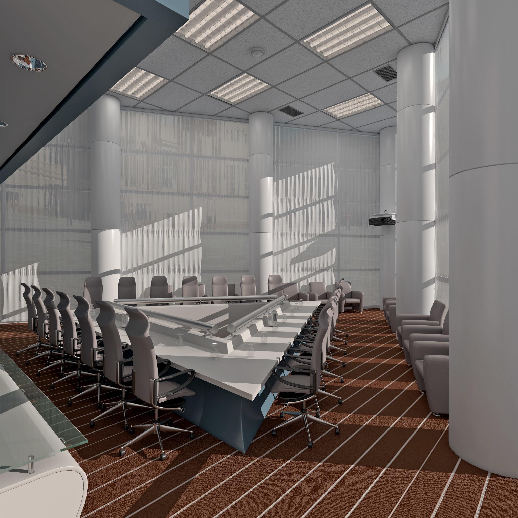 3d boardroom scene model