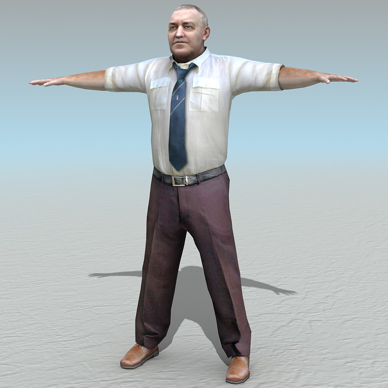casual old man 3d model