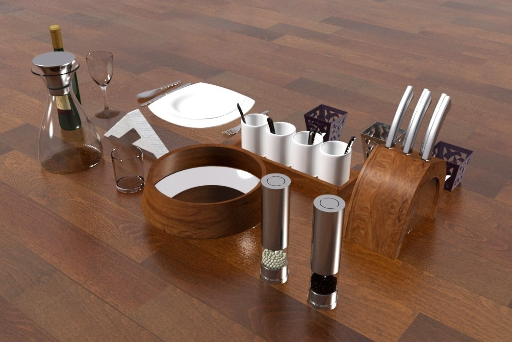 kitchen decoratin tableware 3d model