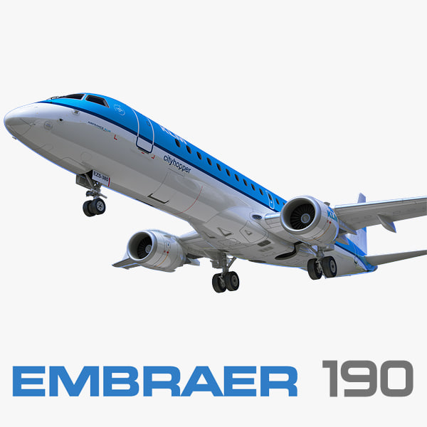 3d embraer erj-190 klm