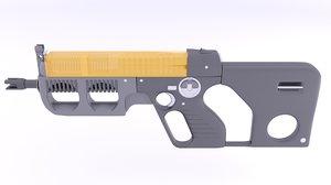 3d model of submachine gun fn p100