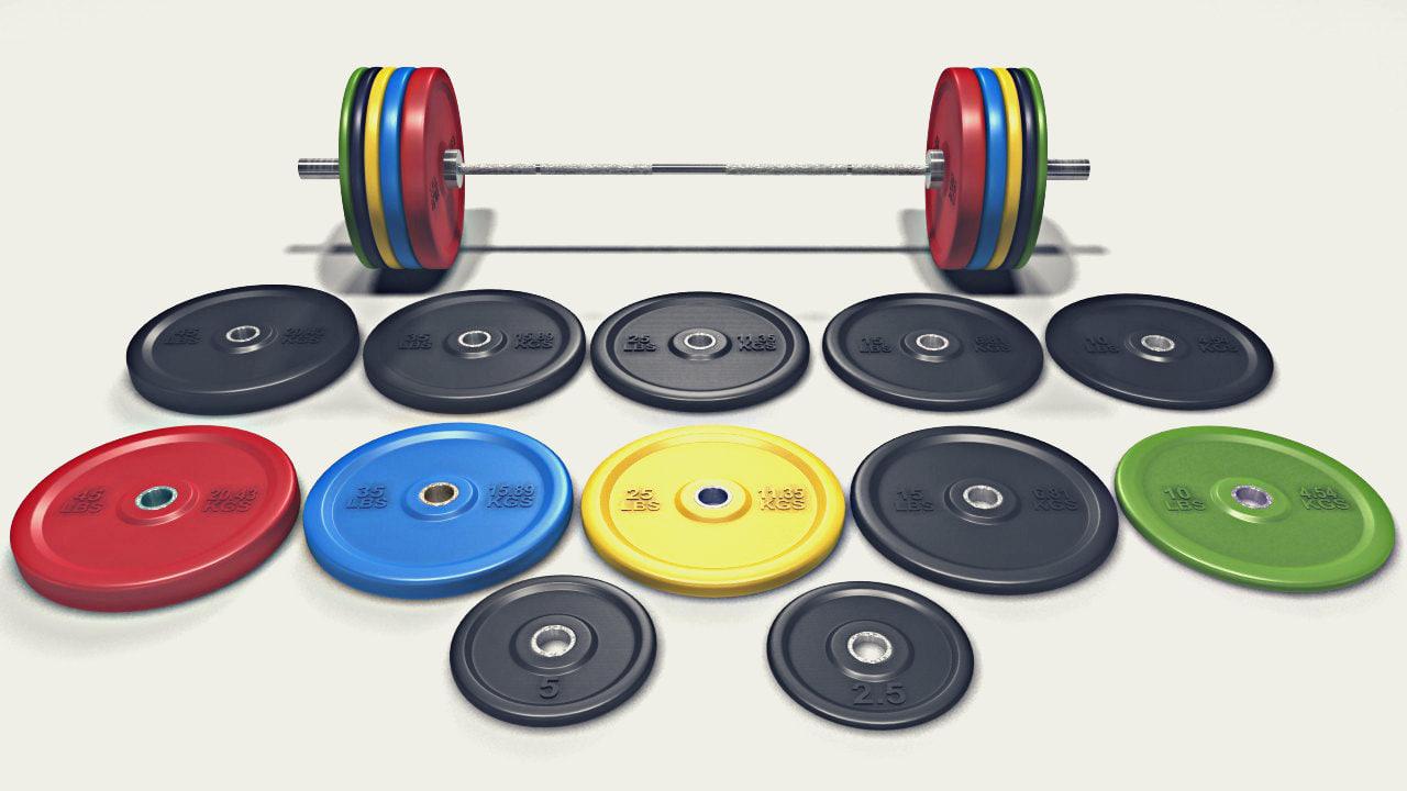 3d model set olympic barbell