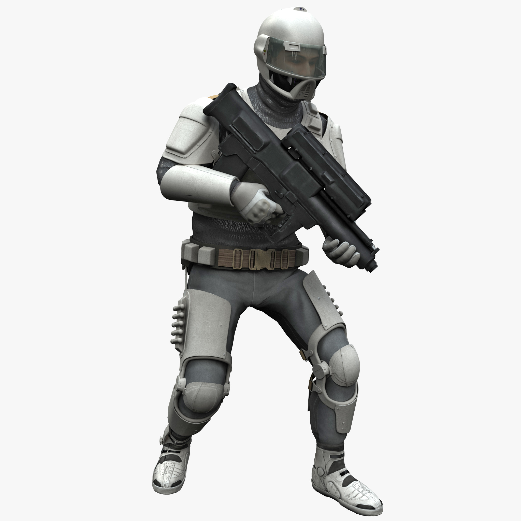 futuristic army soldier pose 3ds