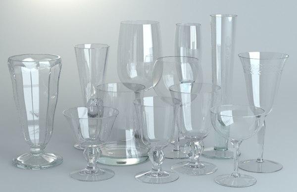 3d model pack glassware wine glasses