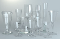 3d model pack glassware wine glasses