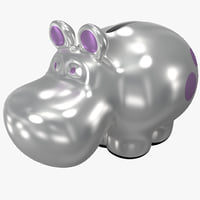 3d model of hippo coin bank