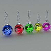 christmas baubles balls 3d model