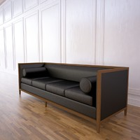 archetype wood banded sofa 3d model