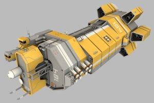 asteroid mining command vessel 3d model