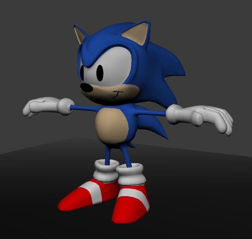 3d model blue hedgehog